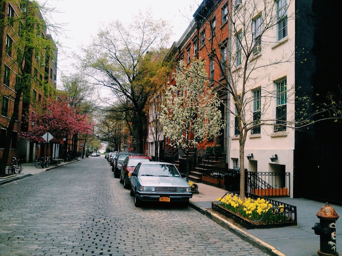 The streets of West Village in New York City in spring