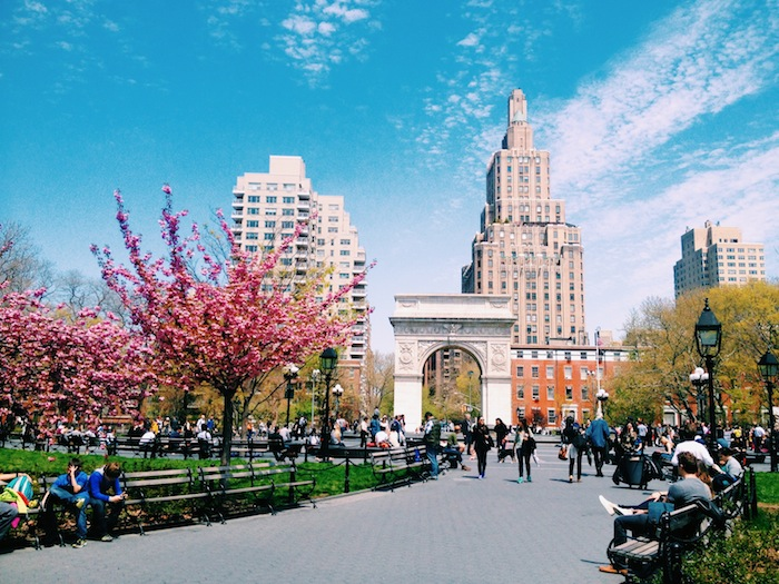 Washington Square Park in New York City on a glorious spring day