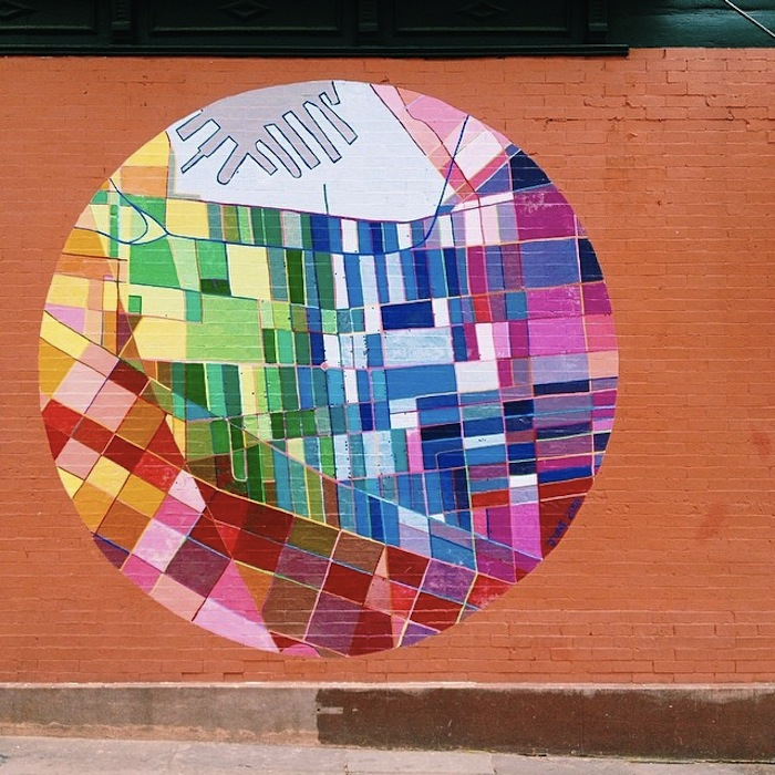Brooklyn colorful circle map mural