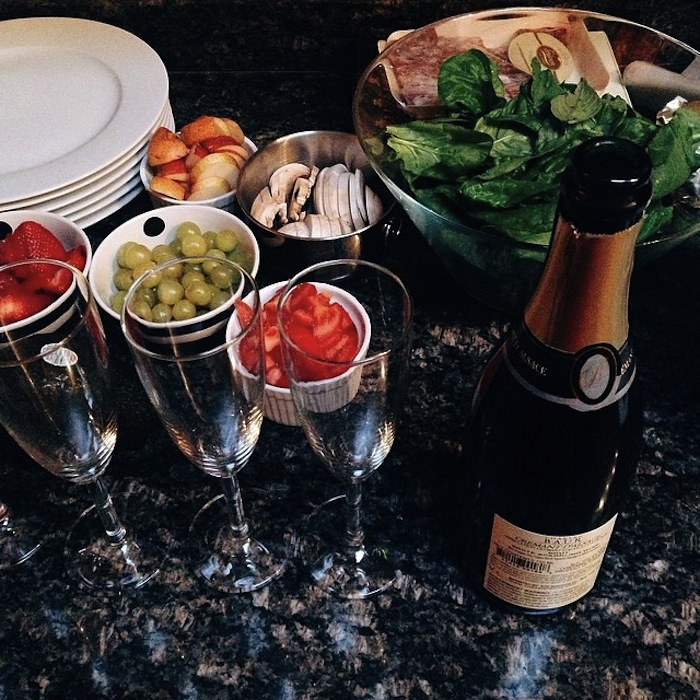 Champagne book club spread