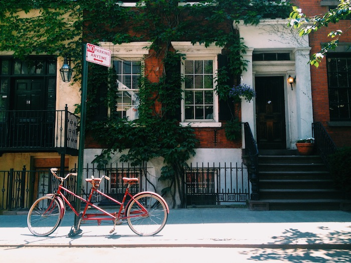 Tandem bike parking in West Village, New York City