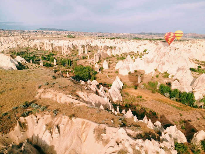 Hot air balloon ride at sunrise in Cappadocia with Voyager Balloons