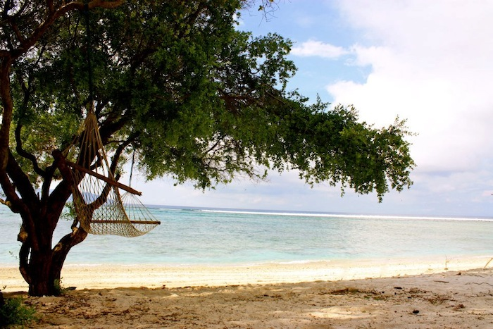 Hammock on beach in Gili Trawangan, Indonesia