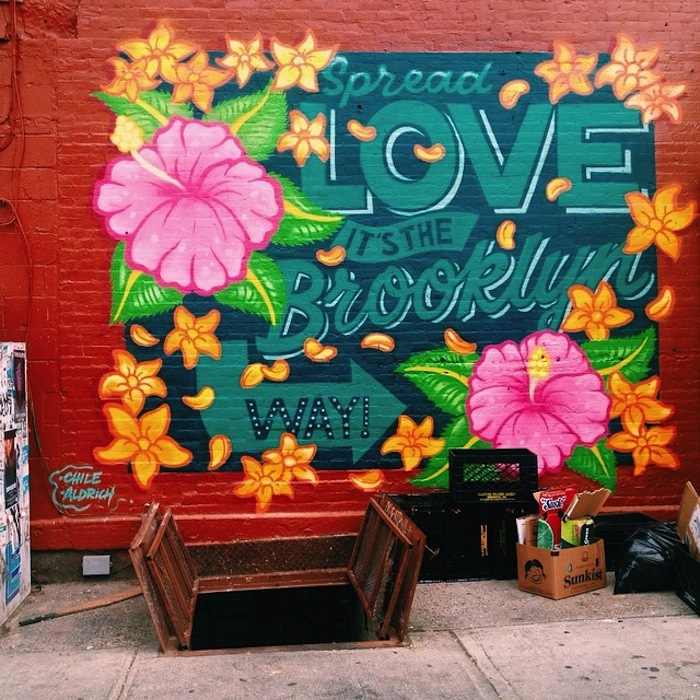 Spread Love It's the Brooklyn Way mural in Williamsburg