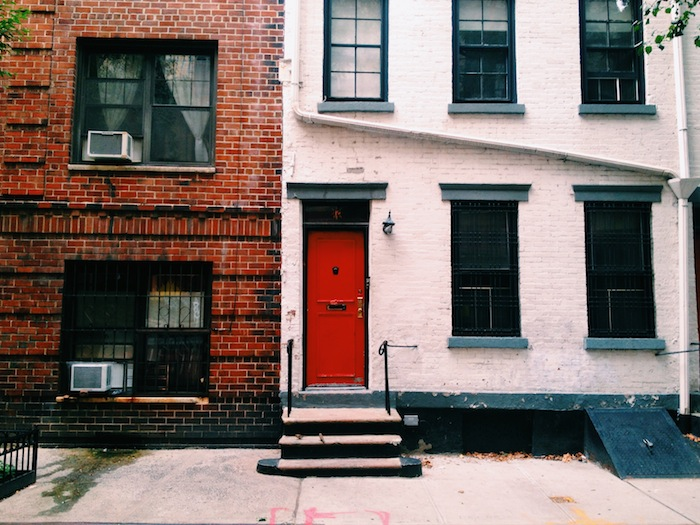 Red door in West Village, New York City