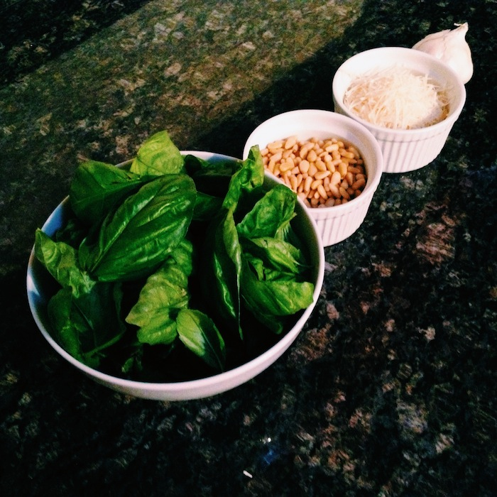 Ingredients for homemade pesto
