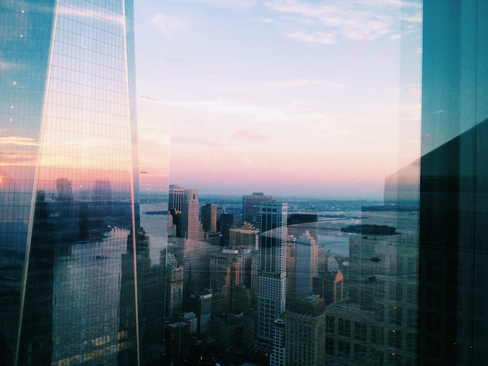 Sunset reflected in the World Trade Center