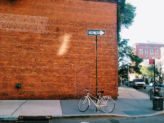 Bike against a wall in West Village, New York City