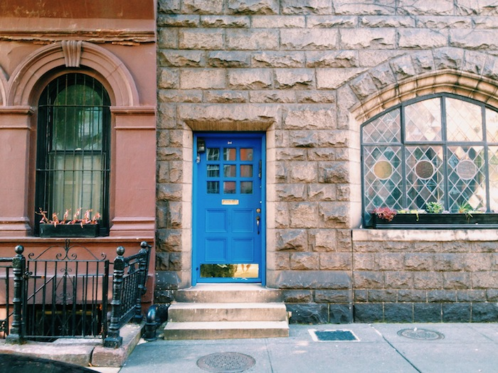 Blue door in West Village, New York City