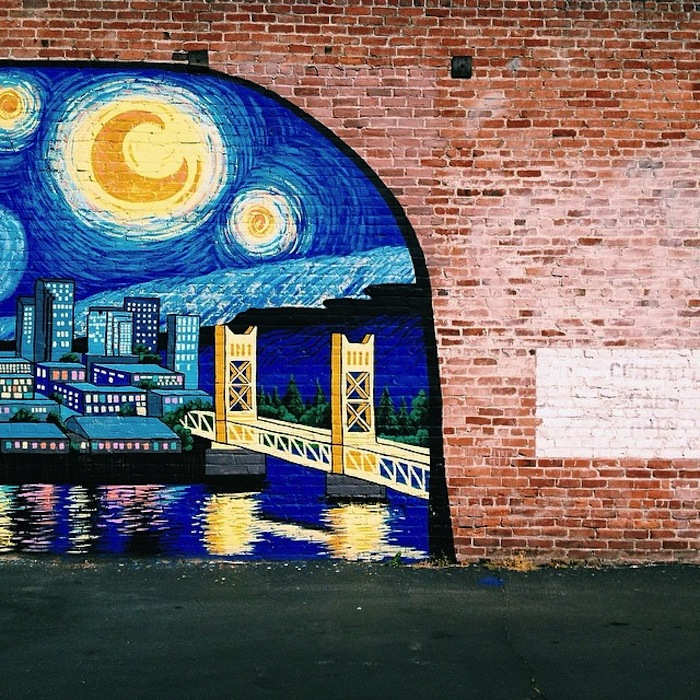 Tower Bridge mural in Sacramento, California