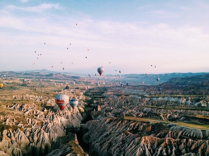 Hot air balloons at sunrise over Cappadocia, Turkey