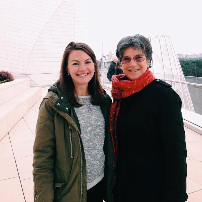 Christine Amorose and mom at Fondation Louis Vuitton