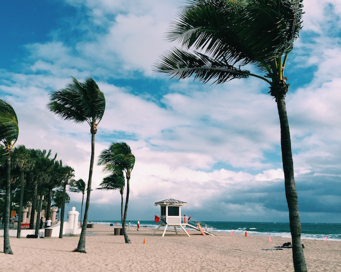 Fort Lauderdale beach on a windy day