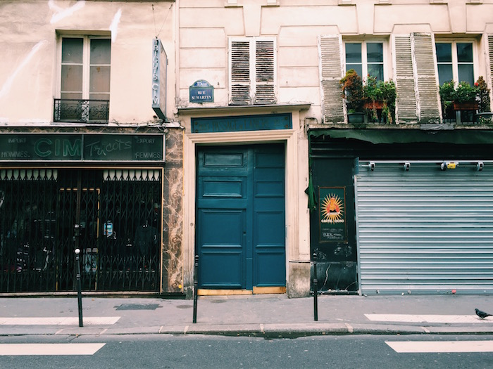 A blue door in Paris, France