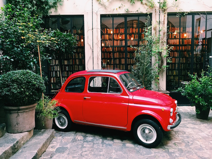 Little red car at Merci concept store in Paris, France