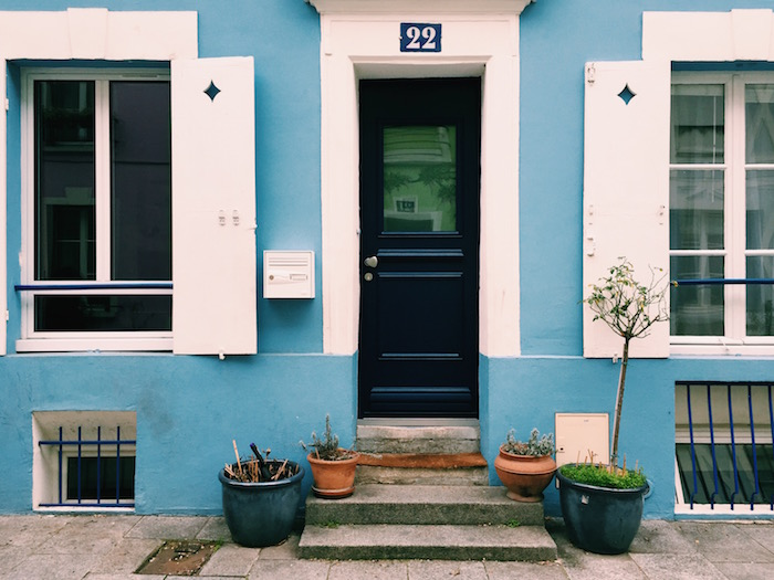 A blue house on Rue Cremiuex in Paris, France