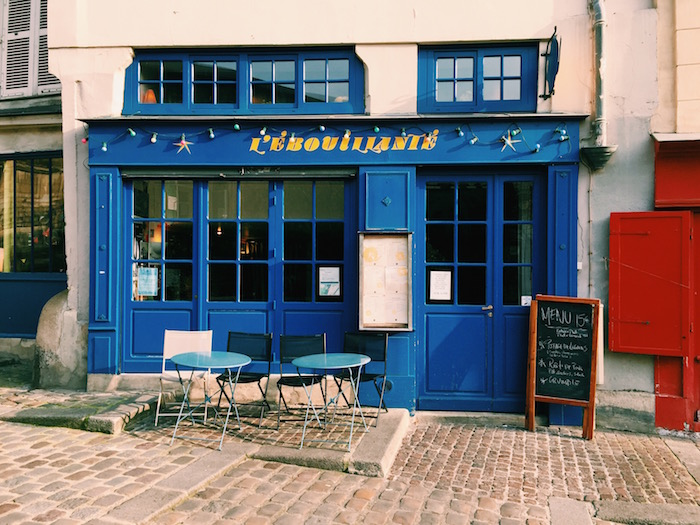 A blue cafe in Paris, France