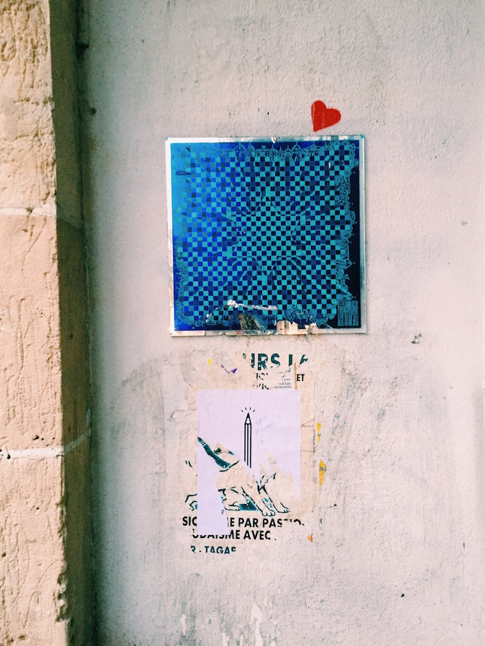 Blue street art in Paris, France