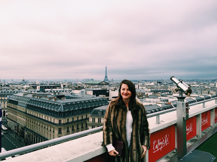 Christine Amorose on the Galeries Lafayette rooftop in Paris, France