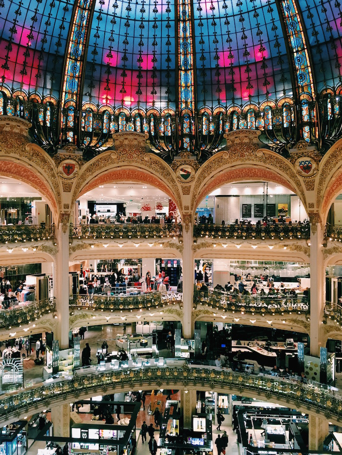 The interior of Galeries Lafayette in Paris, France