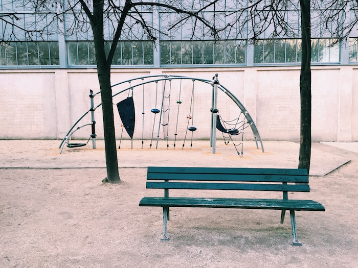 A playground in the Marais neighborhood in Paris, France