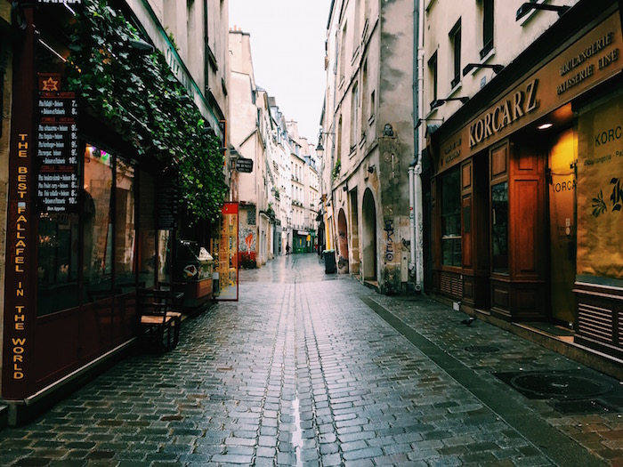 A street in the Marais neighborhood in Paris, France