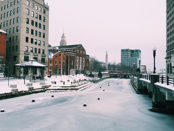 Providence River in winter in Rhode Island