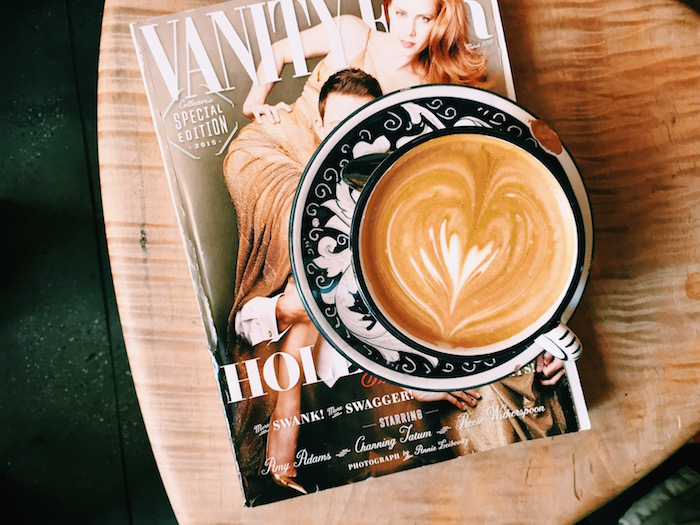 Vanity Fair and latte at La Columbe