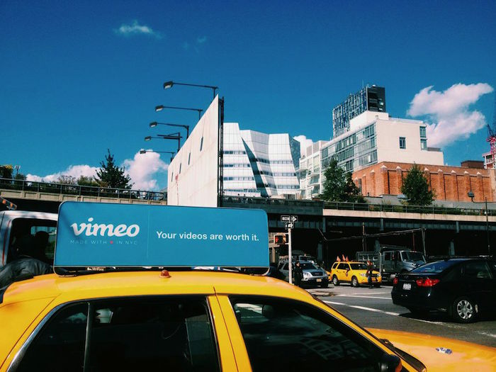 Vimeo ad in front of the IAC building