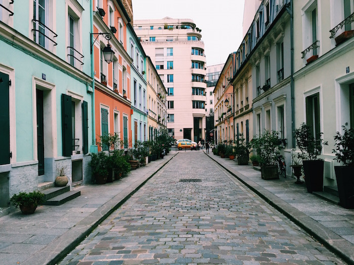 Colorful Rue Cremieux in Paris, France