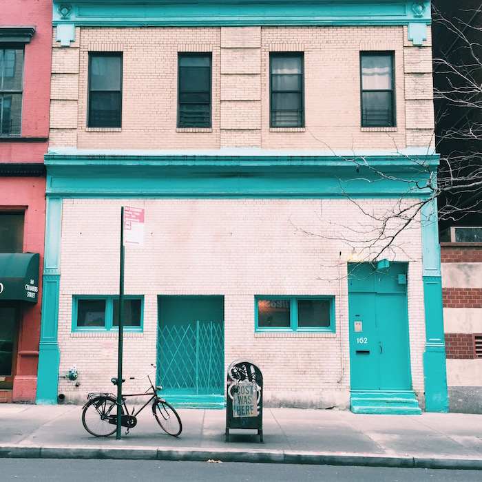 Turquoise building in Tribeca, New York City