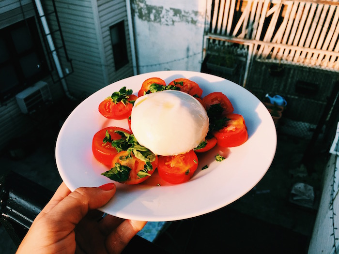 Caprese with homegrown tomatoes and basil