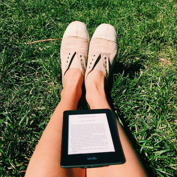 Amazon Kindle and Bensimon sneakers