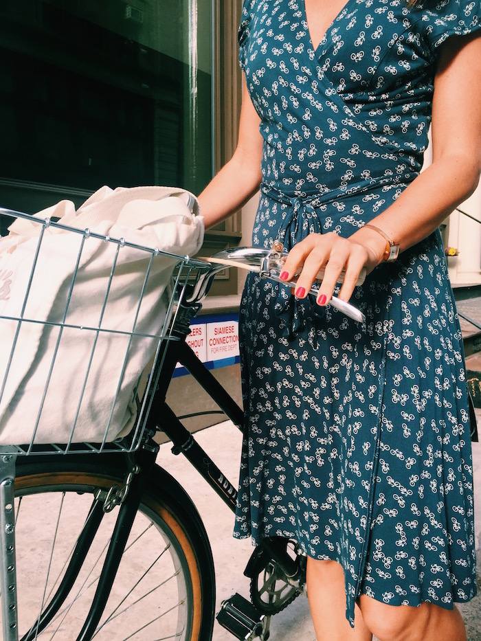 Christine Amorose in Kookai bike print dress