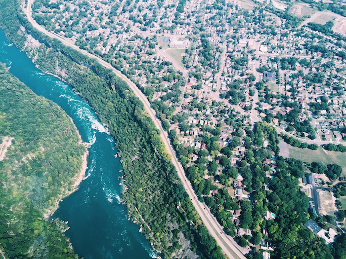 View of Niagara Falls with Niagara Helicopters