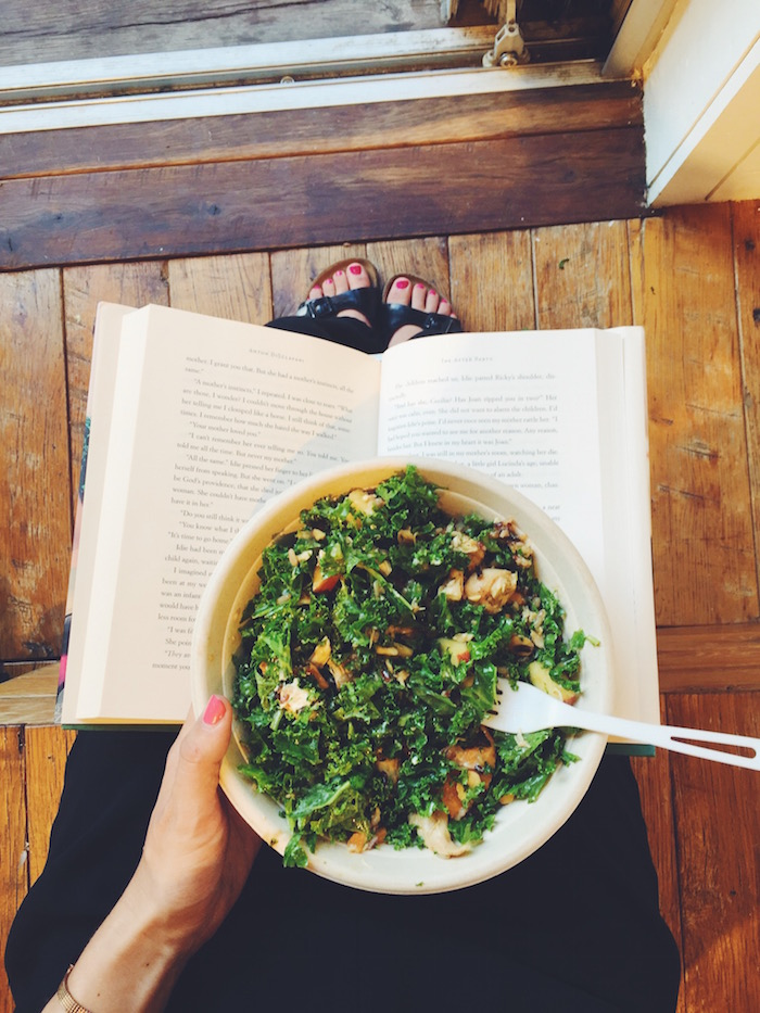 Sweetgreen salad and The After Party book