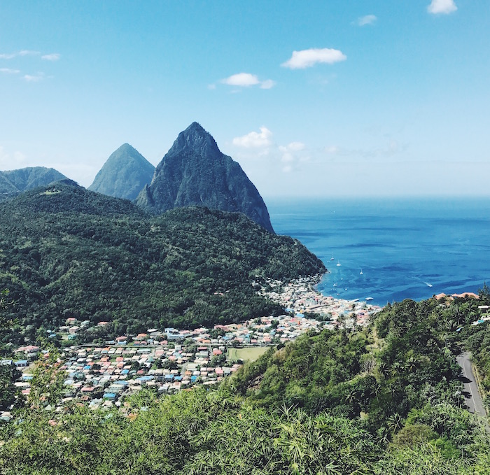 Soufriere and pitons in St Lucia