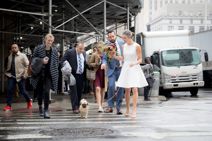 C'est Christine New York City Elopement with a pug by Mat Rick