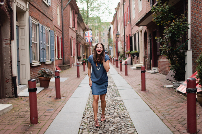 Christine Amorose in Elfreth's Alley, Philadelphia