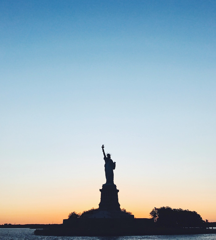 Statue of Liberty at sunset in New York City