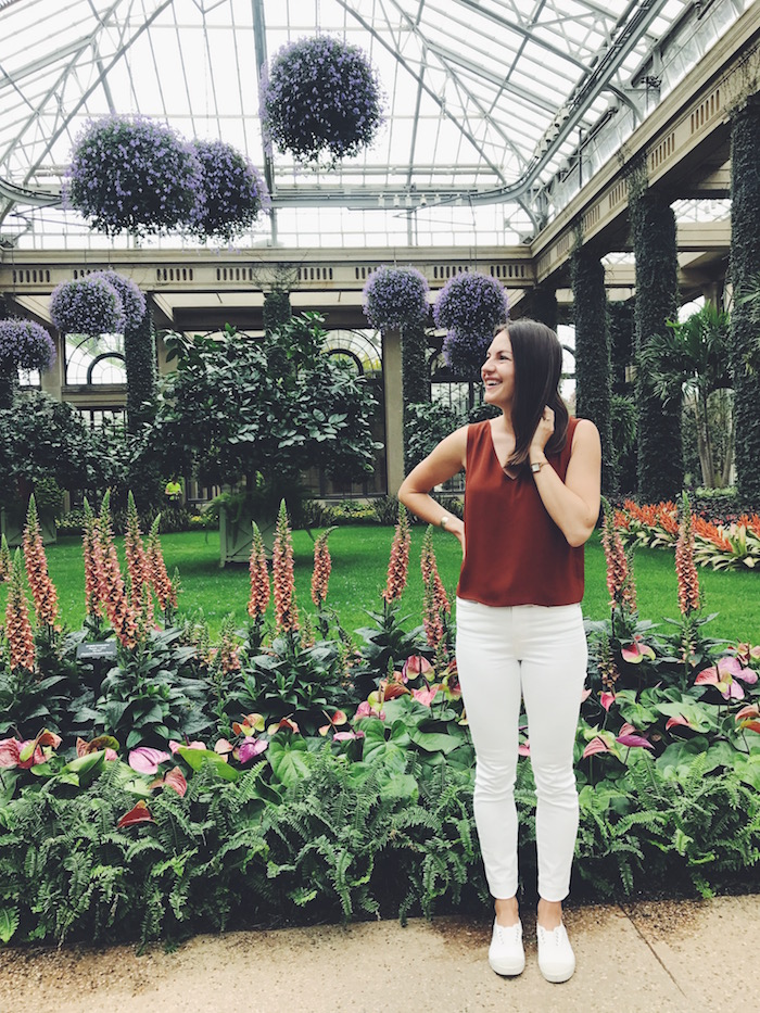 Christine Amorose at Longwood Gardens in bloom in Philadelphia, Pennsylvania