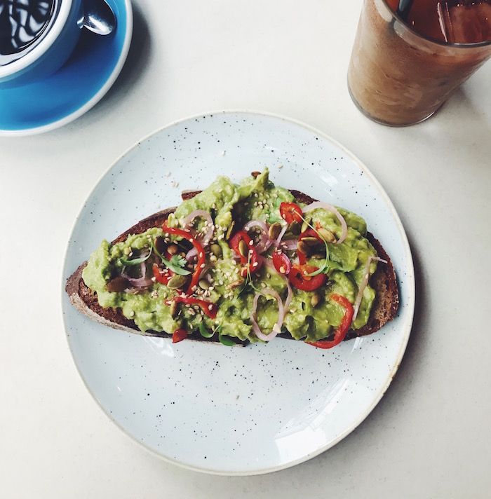 Avocado toast at Two Hands Restaurant in New York City