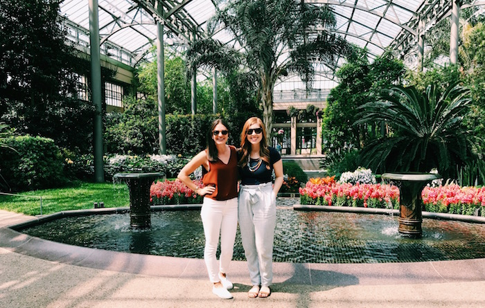 Christine Amorose and Jillian Wishart at Longwood Gardens in bloom in Philadelphia, Pennsylvania