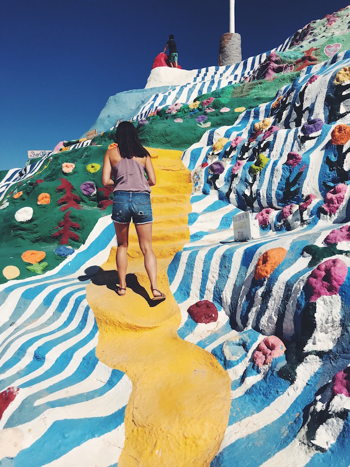 Christine Amorose at Salvation Mountain in the California desert