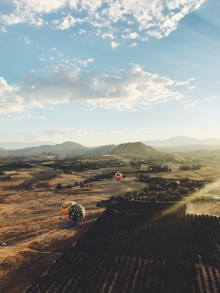 Hot air balloon ride in Temecula, California