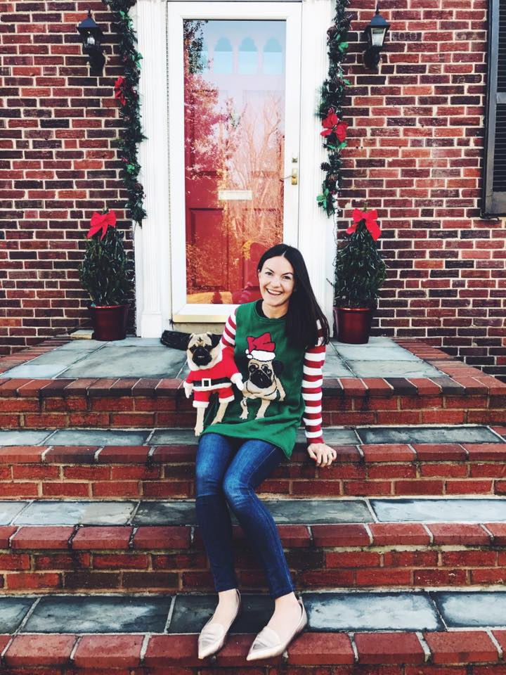 Christine Amorose in Pugly Christmas sweater