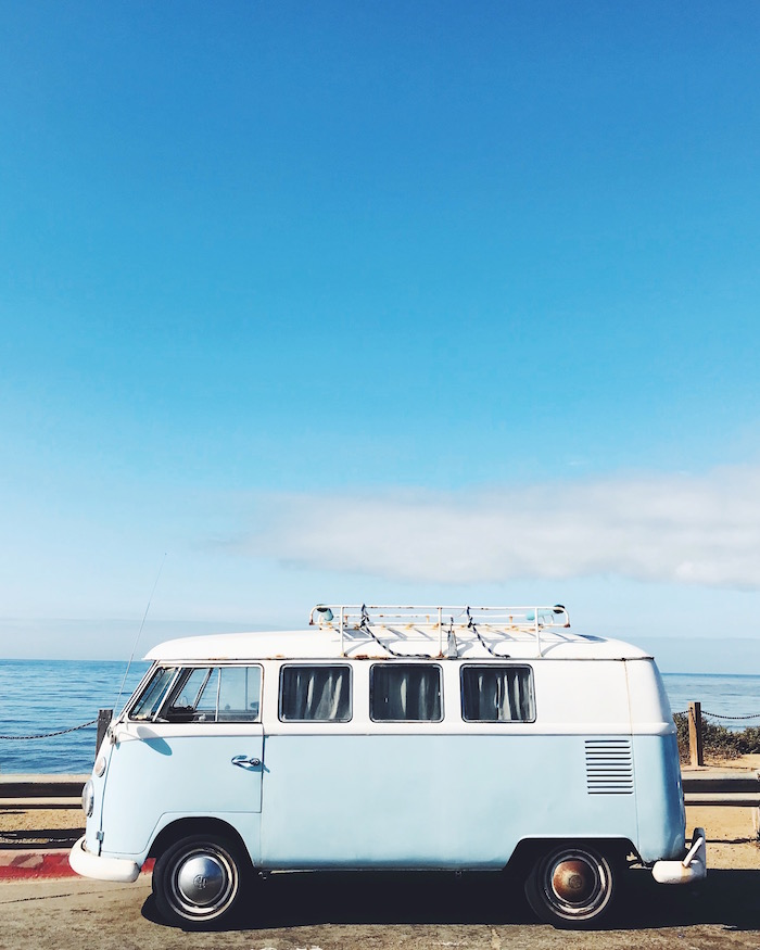 Vintage VW Van at Sunset Cliffs, California
