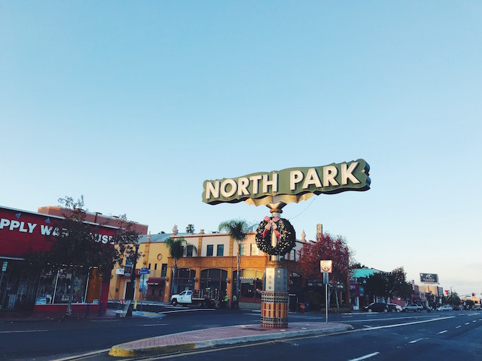 North Park sign and wreath in San Diego
