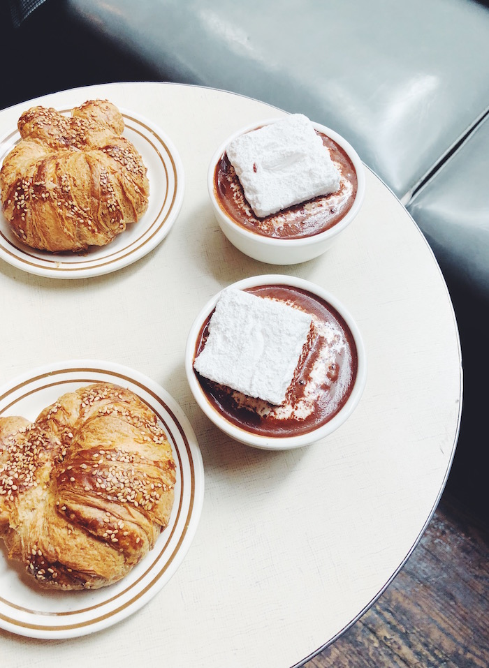 Hot chocolate and pretzel croissants at City Bakery