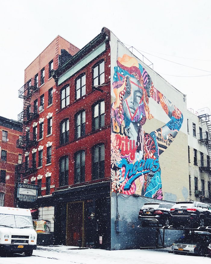 Snowy day and mural in Nolita, New York City